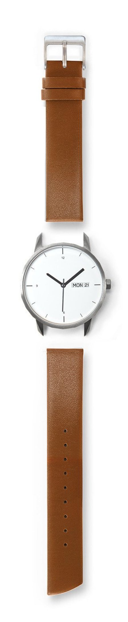 Tinker Watches 38mm Silver Watch Camel Strap