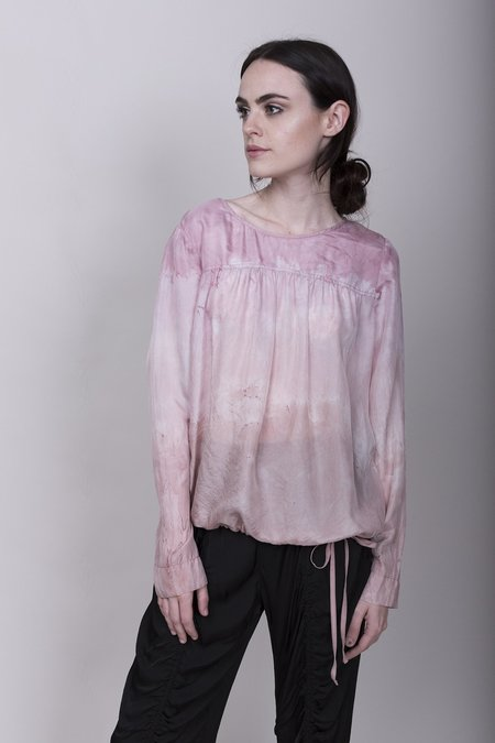 Raquel Allegra Silk Tie Dye Drawstring Blouse - Rose