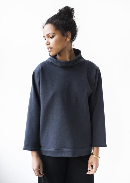 Lloyd Clothing Turtleneck in Navy Terry Cotton