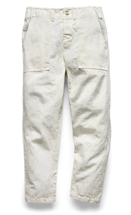 Fortune Goods 107 Pant in Pearl Herringbone Twill