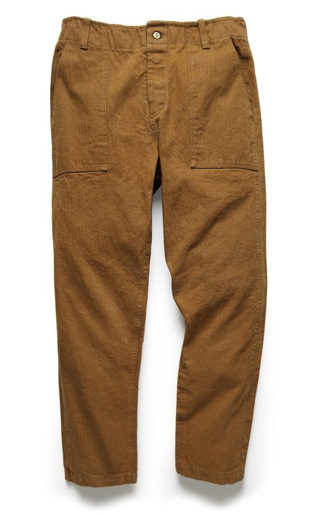 Fortune Goods 107 Pant in Tobacco Herringbone Twill