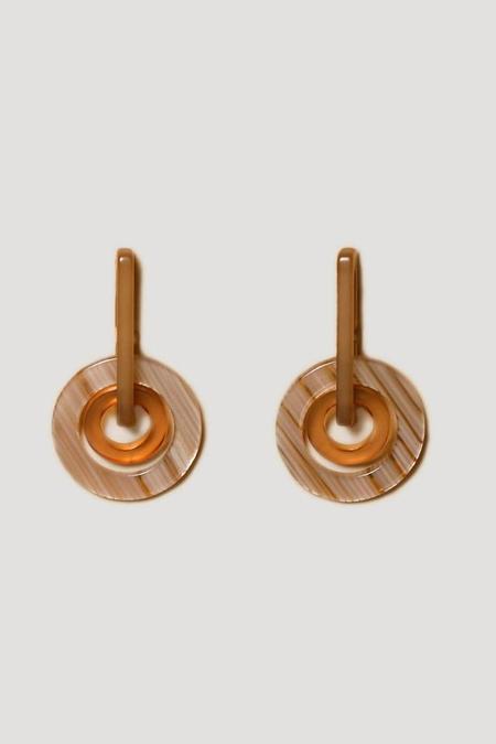 Rachel Comey Odile Earrings in Stripe/Beige