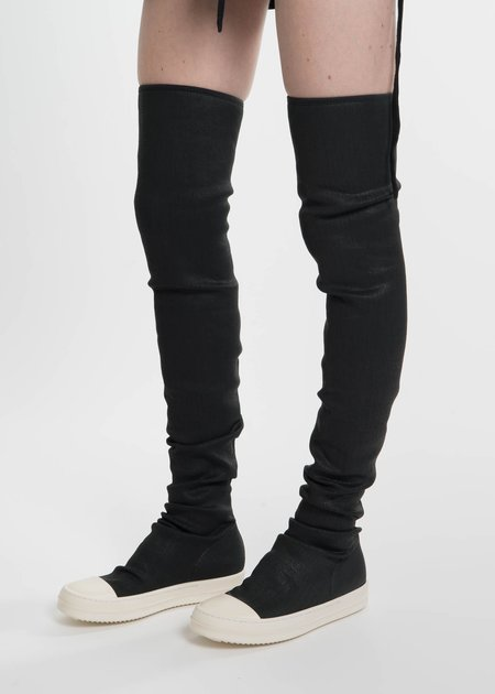 Rick Owens Drkshdw Black Waxed Denim Sneaker Boots
