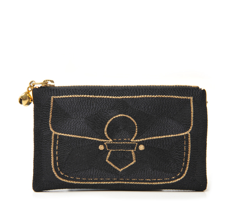 Anne Grand-Clément Black and Gold Pickpocket Extra Small Pouch