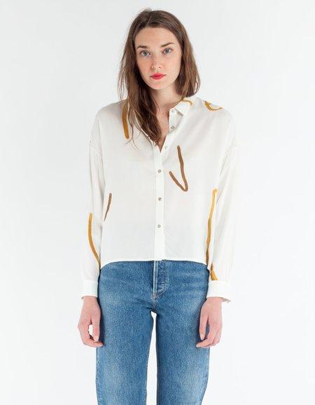 Paloma Wool Leondra Shirt - White Strokes Print