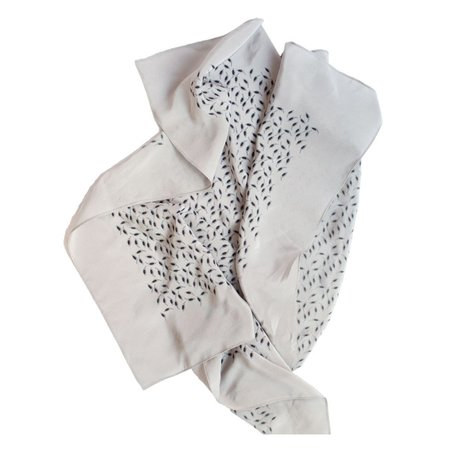 Janessa Leone Printed Silk Scarf in Grey