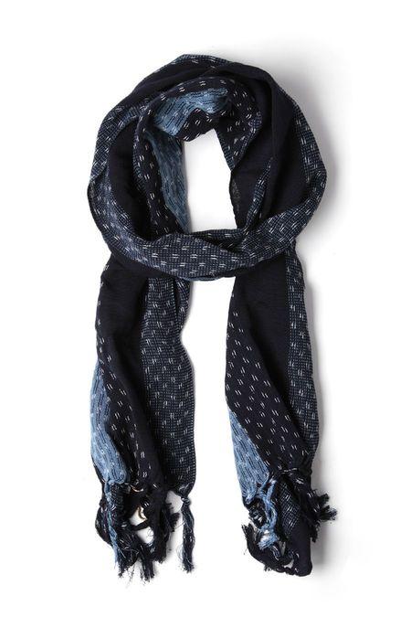 Kiriko Karu-Ori Indigo Blue Stripes Scarf