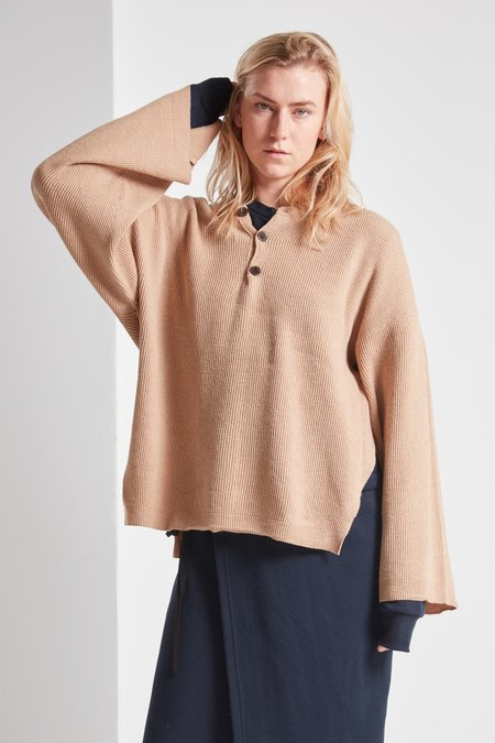 Nanushka Lamé Beta Knit Sweater - Camel