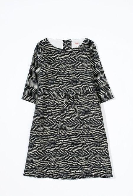 Samuji Finch Dress in Black and Ecru