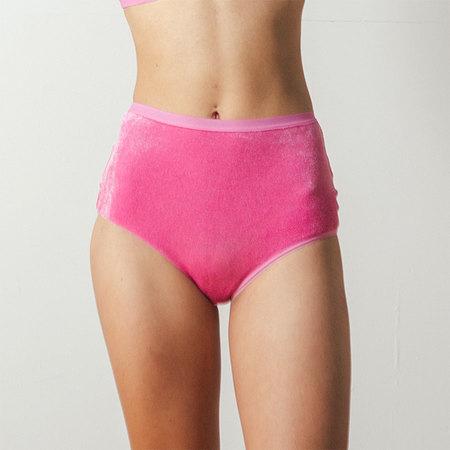 Baserange Velours Highwaisted Bell Pants in Baker Pink
