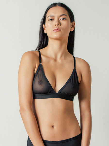 Land of Women Triangle Mesh Bra in Black