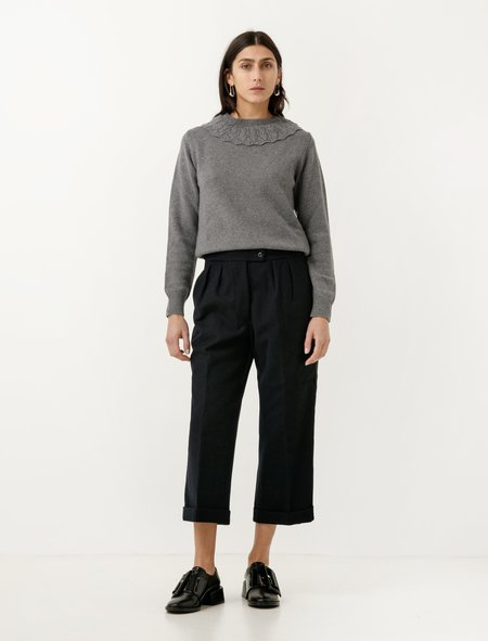 MHL by Margaret Howell Wool Cotton Drill Uniform Trousers - Navy