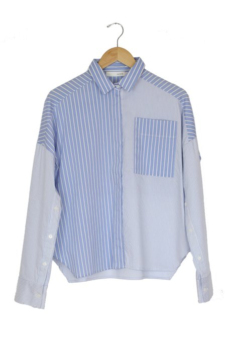 Achro Open Sleeve Mixed Stripe Shirt - Light Blue