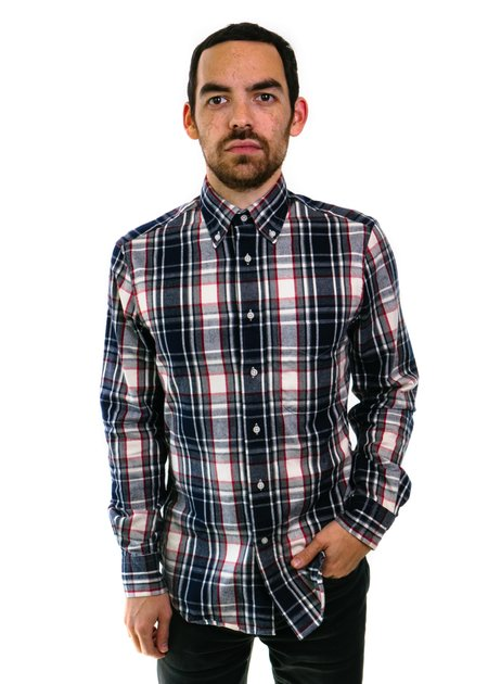 Gitman Vintage Plaid Flannel - Navy/White
