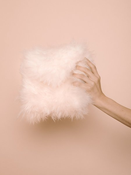 Audrey Louise Reynolds Fur Clutch - Natural