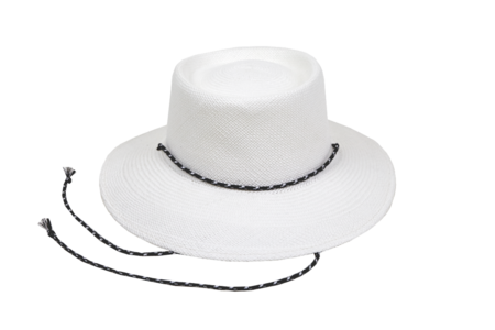 Clyde Telescope Hat in White w. Drawstring