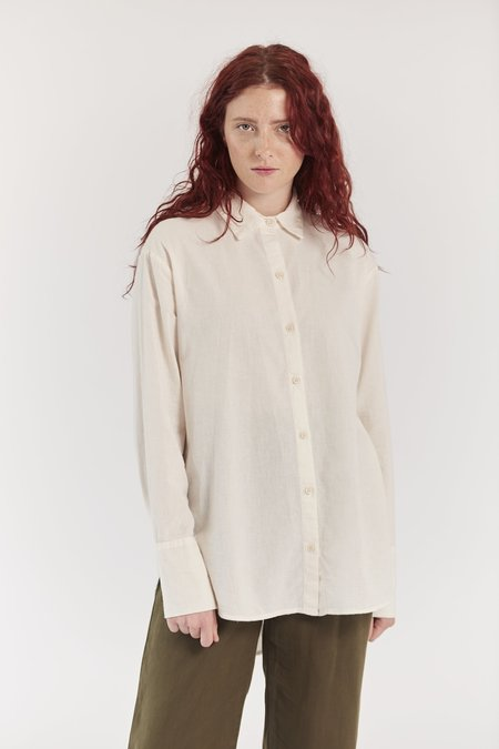 Lacausa Cotton Noil Button Up in White