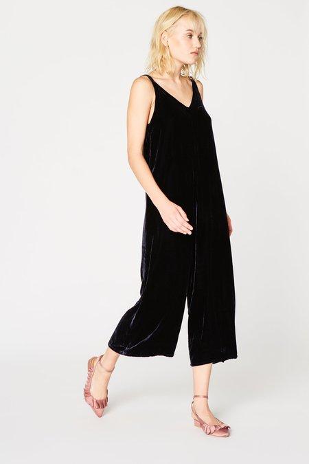 Lacausa Clothing Velvet Santi Jumpsuit in Midnight