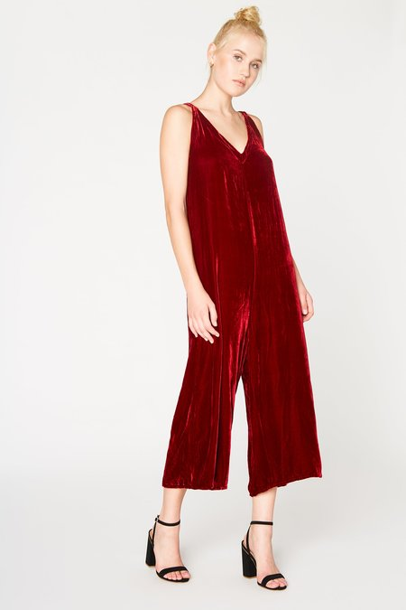 Lacausa Clothing Velvet Santi Jumpsuit in Red