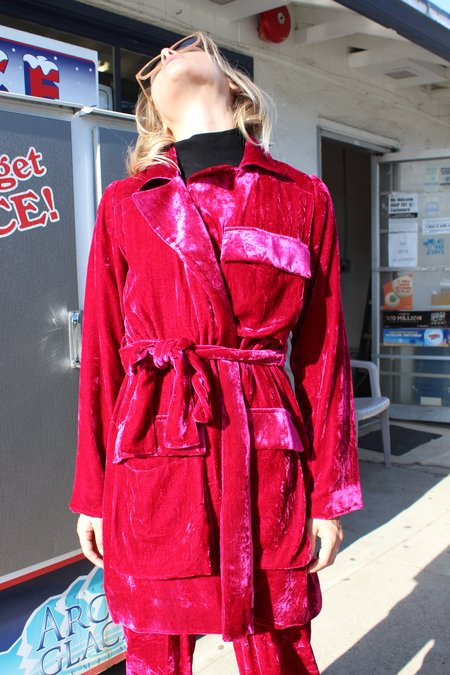 100% Silk Velvet Smoking Coat - Dragonfruit