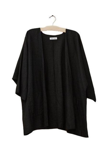 Rachel Craven Textiles Kimono Jacket, Black Linen