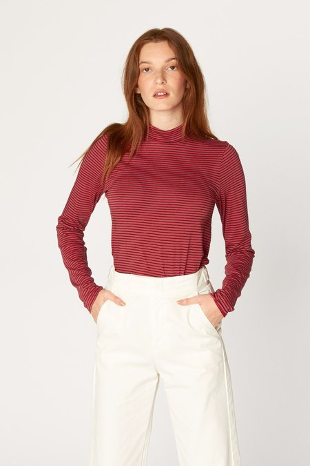 Lacausa Striped Turtleneck in Red Stripe