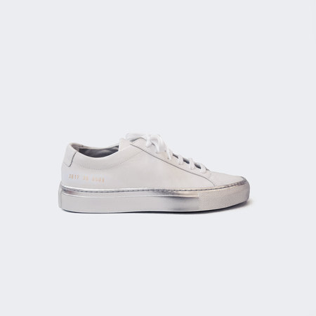 Woman by Common Projects Achilles Low with Colored Sole - White/Silver