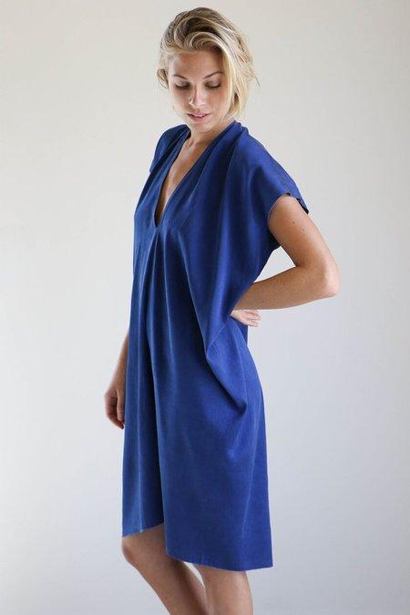 Miranda Bennett Everyday Dress in Dark Indigo Silk Charmeuse