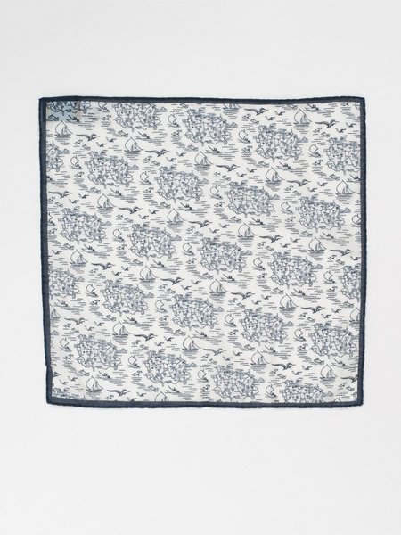 Eidos Ischia Print Pocket Square - Navy/White