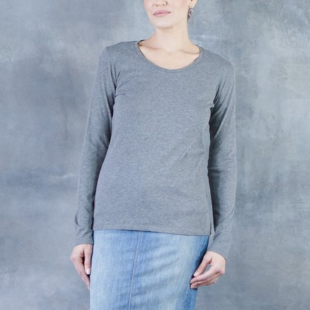 Majestic Flat-Edge Long Sleeve Scoop Neck Tee