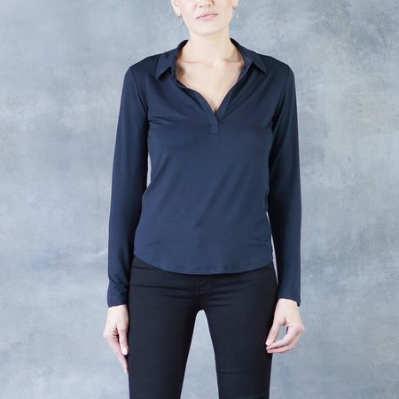 Majestic Viscose/Elastane Long Sleeve Polo Top