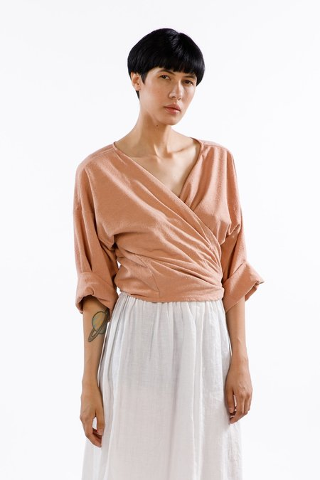 Miranda Bennett Wrap Top Silk Noil in Nico