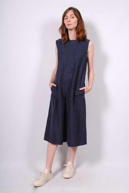 No.6 Dennis Puckered Cupro Linen Romper - Navy