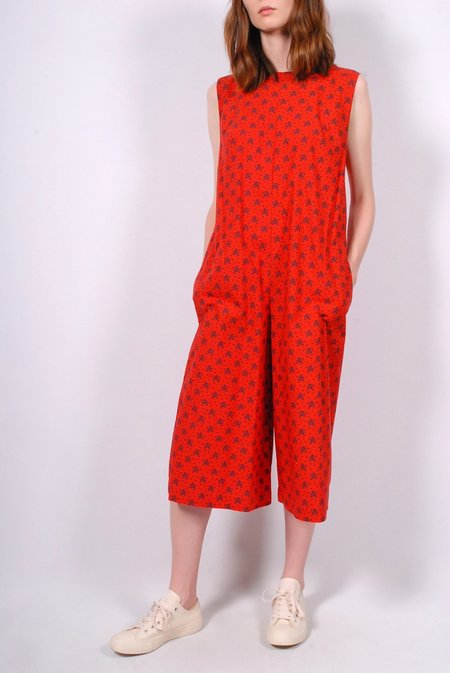 No.6 Dennis Puckered Cupro Linen Romper - Red French Floral