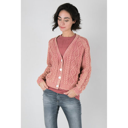 Callahan Cableknit Enzyme Wash Cardigan - Dusty Rose