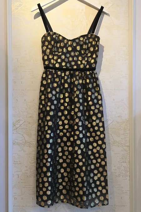 For Love & Lemons Lottie Gold Polkadot Dress