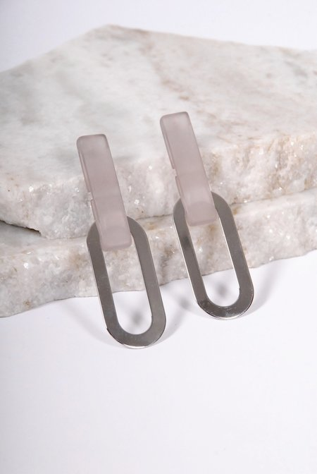 Rachel Comey Gray Earrings - Blush Silver
