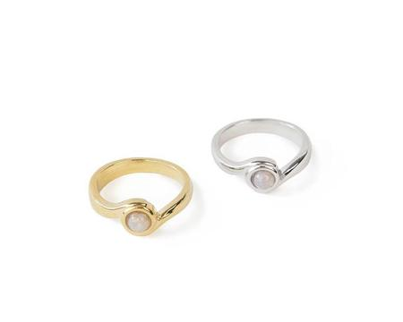 Emily Valentine Gold Flow Ring Pink Opal