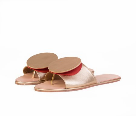 The Palatines Caeleste Slide Sandal - Gold glazed / Saffron textured leather