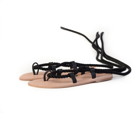 The Palatines Helica Sandal - Black satin cord