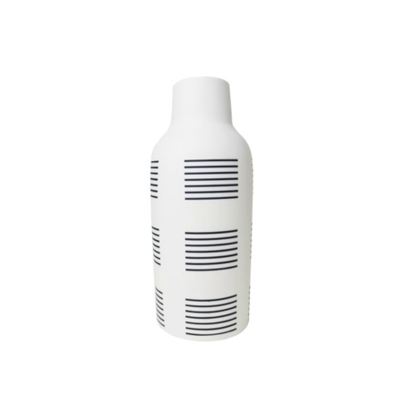 The Granite Bottle Vase - Black/White Stripe