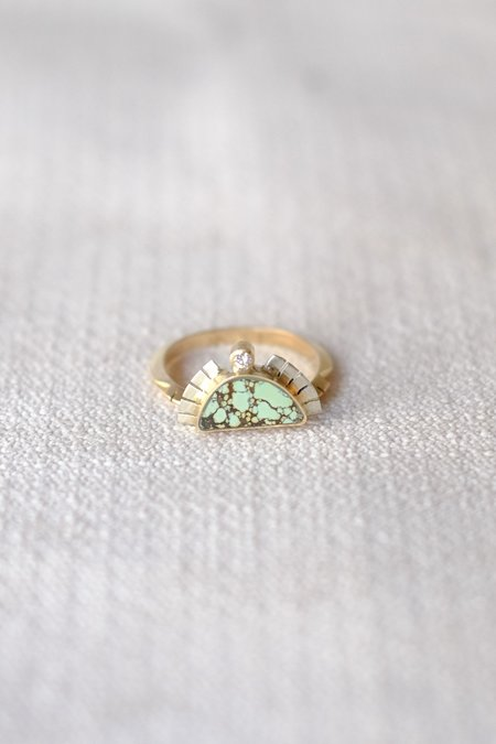 Young In the Mountains Half Sol Ring SS/14K Diamonds Peacock Turq.