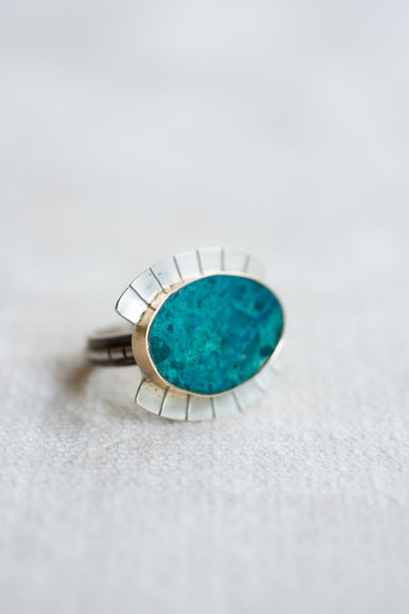 Young In the Mountains Wide Eye Ring - Chrysocolla