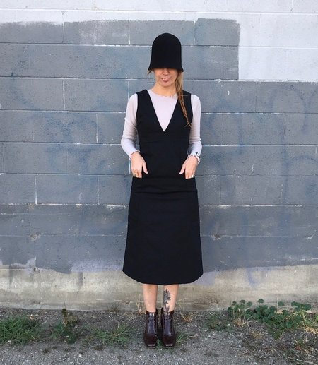 Sunja Link Canvas Jumper Dress - Black