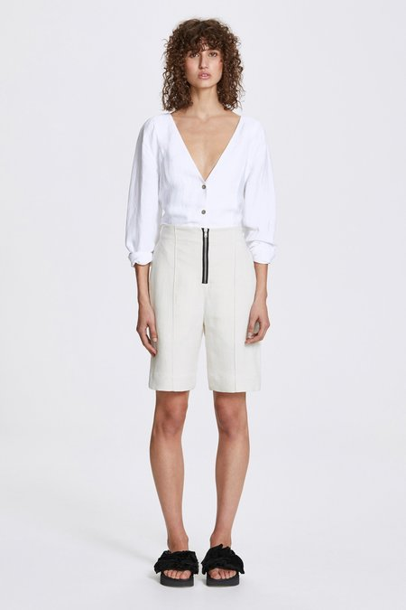 Her Line Exposed Wide Leg Shorts - Heavy Linen - Natural