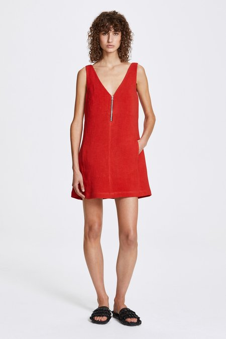 Her Line Zip a-line dress - Heavy linen - Lava red
