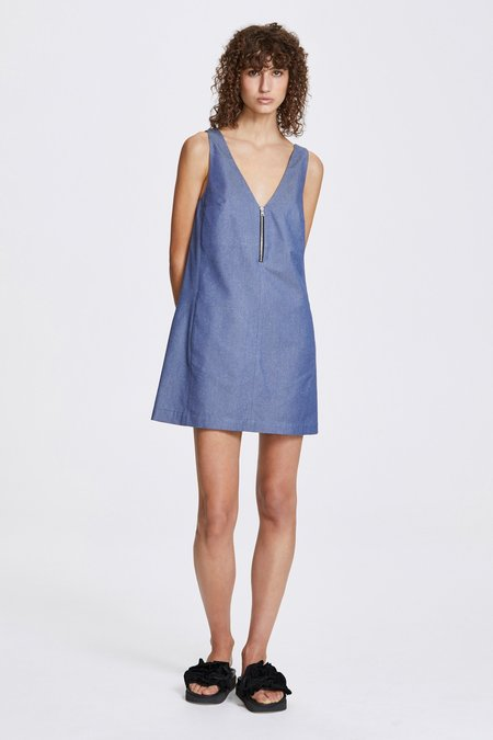 Her Line Zip a-line dress - Silk cotton - Blue denim