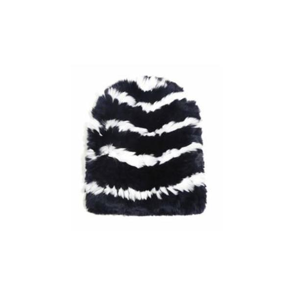 Eugenia Kim Elie Knitted Striped Fur Beanie