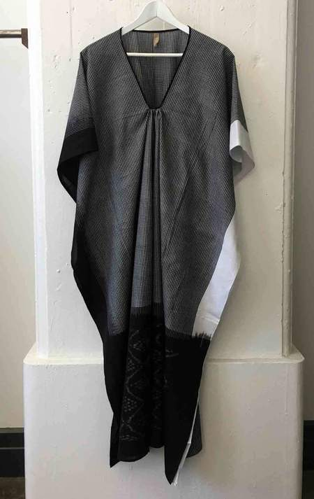 Two Ikat Black Caftan with White Border