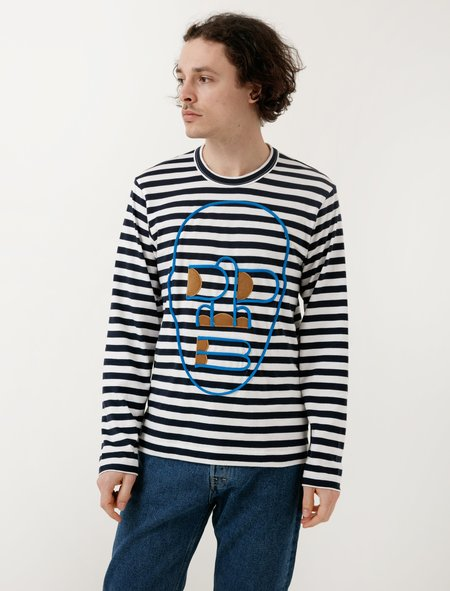 Comme des Garçons Shirt Navy White Stripe Logo Stitch Tee